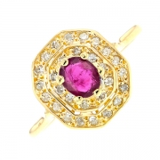 Bague rubis 0.55 carat et diamants 0.09 carat en or jaune