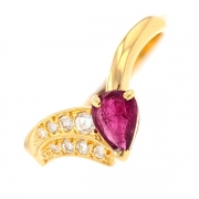 Bague rubis 0.45 carat et diamants 0.15 carat en or jaune