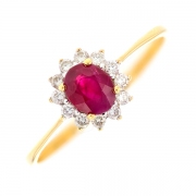 Bague marguerite rubis 0.85 carat et diamants 0.18 carat en or jaune