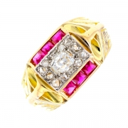 Bague ART DECO diamants 0.20 carat et rubis en or bicolore