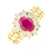 Bague marguerite rubis 1.45 carat et diamants 0.76 carat en or jaune
