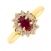 Bague marguerite rubis 1.20 carat et diamants 0.42 carat en or jaune