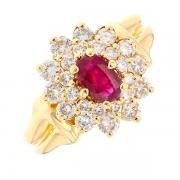 Bague marguerite rubis 0.30 carat et diamants 0.18 carat en or jaune
