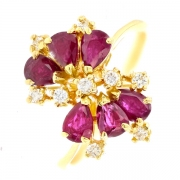 Bague rubis 1.62 carat et diamants 0.22 carat en or jaune