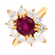Bague marguerite rubis 1.83 carat et diamants 1.76 carat en or jaune