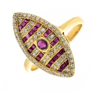 Bague marquise diamants 0.33 carat et rubis en or jaune