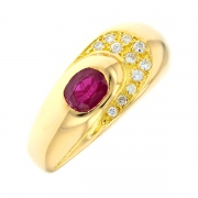 Bague rubis 0.80 carat et diamants 0.10 carat en or jaune