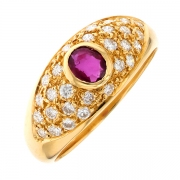 Bague rubis et diamants 0.56 carat en or jaune