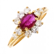 Bague marguerite rubis 1 carat et diamants 0.82 carat en or jaune