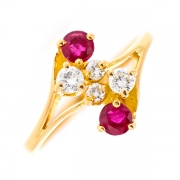 Bague diamants 0.32 carat et rubis 0.34 carat en or jaune