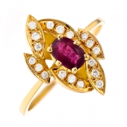 Bague rubis 0.54 carat et diamants 0.15 carat en or jaune
