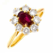 Bague marguerite rubis 0.54 carat et diamants 0.88 carat en or jaune