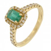 Bague �meraude 0,60 carat et diamants 0,38 carat en or jaune