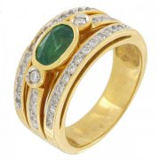 Bague �meraude 0,85 carat et diamants 0,37 carat en or bicolore