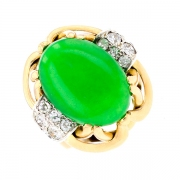 Bague jade 6 carats et diamants 0.50 carat en or bicolore