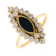 Bague marquise onyx et diamants 0.70 carat en or jaune