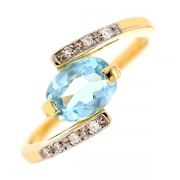 Bague pierre fine et diamants 0.03 carat en or bicolore