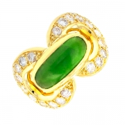 Bague diamants 1 carat et jade cabochon en or jaune