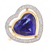 Bague coeur tanzanite 18 carats et diamants 0.40 carat en or bicolore