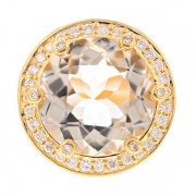 Bague ronde topaze champagne 12.40 carats et diamants 0.66 carat en or jaune