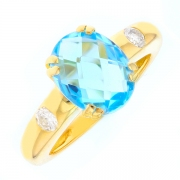 Bague topaze 2.27 carats et diamants 0.20 carat en or jaune