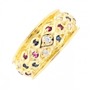 Bague saphirs, rubis et diamants 0.06 carat en or jaune