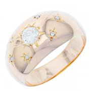 Bague jonc vintage et diamants 0,25 carat en or jaune