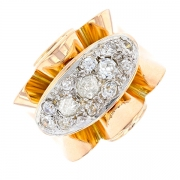 Bague diamants 0.35 carat en or bicolore