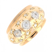 Bague ancienne diamants 0.17 carat en or jaune