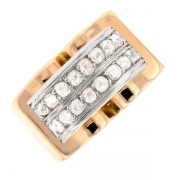 Bague diamants 0.80 carat en or bicolore