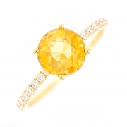 Bague citrine 1.52 carat et diamants 0.19 carat en or jaune