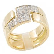 Bague Bandeau Or Jaune Diamants Taille Moderne