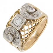 Bague diamants 0,25 carat en or bicolore