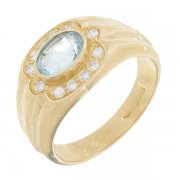 Bague diamants 0,06 carat et aigue-marine en or jaune