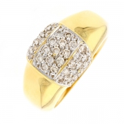 Bague pavage de diamants 0.70 carat en or bicolore