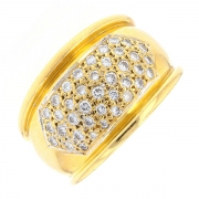 Bague jonc pavage diamants 0.40 carat en or jaune