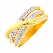 Bague entrelacs diamants 0.08 carat en or jaune