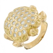 Extraordinaire bague tortue en pavage de diamants 1,8 carat en or jaune