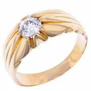 Bague jonc diamant 0,60 carat en or jaune
