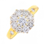 Bague ronde pompadour diamants 1.60 carat en or jaune