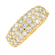 Bague jonc pavage diamants 1.98 carat en or jaune