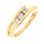 Bague trilogie de diamants 0.33 carat en or jaune