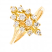 Bague marquise diamants 0.52 carat en or jaune