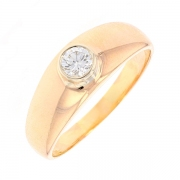 Bague jonc diamant 0.16 carat en or jaune