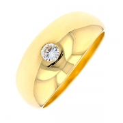 Bague jonc diamant 0.15 carat en or jaune