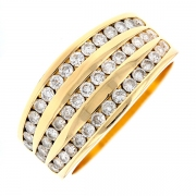 Bague diamants 1.12 carat en or jaune