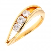 Bague trilogie de diamants 0.36 carat en or jaune