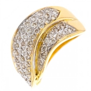 Bague pavage diamants 0.55 carat en or bicolore