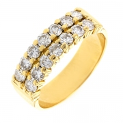 Bague double demi-alliance diamants 1.26 carat en or jaune