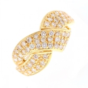 Bague entrelacs pavage diamants 0.88 carat en or jaune